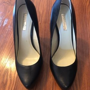 "BCBG black leather pumps in size 9. With 4"" heel."